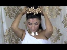 Greek Goddess makeup hair costume/toga- halloween tutorial.