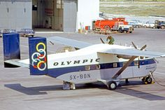 "Olympic Airways Short Skyvan SX-BBN ""Isle of Mykonos"" at Athens-Ellinikon, April (Photo: R. Olympic Airlines, National Airlines, Cargo Aircraft, Military Aircraft, Airplane Design, Civil Aviation, Aircraft Pictures, Jet Plane, Olympics"