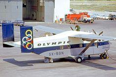 "Olympic Airways Short SC-7 Skyvan 3-400 SX-BBN ""Isle of Mykonos"" at Athens-Ellinikon, April 1973. (Photo: R.A.Scholefield)"