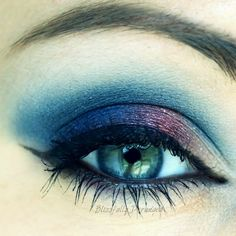 Party through the night with this eye makeup in bright blue. Recreate this colored smokey look using these products.