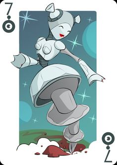 Playing Cards by Mike Wilcox: Seven of Robots | more here: http://playingcardcollector.net/2015/02/11/playing-cards-by-mike-wilcox/