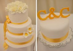 white and yellow wedding cake, image by Miki Photography