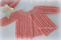 15 Free Baby Sweater Crochet Patterns: Lacy Crochet Baby Sweater Free Vintage Pattern