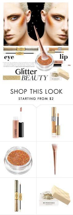 """""""Glitter Beauty"""" by groove-muffin ❤ liked on Polyvore featuring beauty, MAC Cosmetics, Yves Saint Laurent, tarte and Burberry"""
