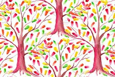 Watercolor tree seamless pattern by Art By Silmairel on @creativemarket