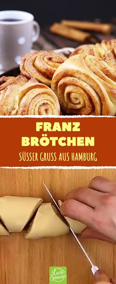 With this recipe you simply make the North German bread roll classic yourself! Franzbrötchen are simply heavenly - sweet snails with cinnamon, perfect for breakfast, as a snack in between or for afternoon coffee. German Bread, Breakfast Time, Food Cakes, Cake Tutorial, Vegan Baking, Food Cravings, Coffee Cake, Cake Recipes, Bakery