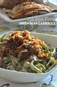 Gluten Free Green Bean Casserole Recipe perfect to pair with holiday dinner!