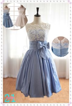 Short Taffeta Dresses Taffeta Prom Dresses Blue Taffeta by 214EVER, $119.99