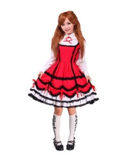 Price: 	$79.00  Red and White Scalloped-edge Sweet Lolita Dress with Tiers (Large) Solilor, JAPANESE HARAJUKU DRESSES. If you would like to buy this item just click on amazon below the Pinterest Pin, this takes you right to the amazon page. http://www.amazon.com/gp/product/B00AMBEXZU?ie=UTF8=213733=393185=B00AMBEXZU=shr=abacusonlines-20&=apparel=1368155931=1-331=lolita+dresses