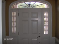 Shutters are the perfect solution for sidelights. Privacy and sophistication. Call Maryland Paint & Decorating for an estimate.