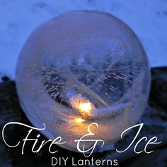 DIY Fire & Ice Lanterns ~ MAD IN CRAFTS; punch balloons nearly filled & frozen. Insert a spacer so you can place a battery tea light inside when done. Fire and ice party Holiday Crafts, Fun Crafts, Holiday Decor, Christmas Holidays, Christmas Decorations, Christmas Lanterns, Outdoor Christmas, Christmas Ornament, How To Make Lanterns