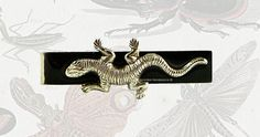 Lizard Tie Clip Inlaid in Hand Painted Black Enamel Salamander Neck Tie Bar Accent with Color Options
