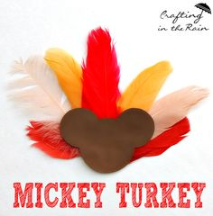 A Mickey-Inspired Thanksgiving Craft for Your Little Turkeys Gobble Gobble, we all are wearing Mickey Pilgrim shirts.