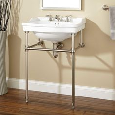 Cierra Console Sink with Brass Stand