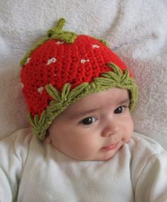 Strawberry Hat -Crocheted Baby  Hat  - for Baby or Toddler