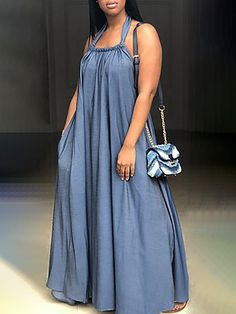 Oversize Halter Neck Pleated Maxi Dress We Miss Moda is a leading Women's Clothing Store. Denim Maxi Dress, Pleated Maxi, Maxi Dress With Sleeves, Maxi Dresses, Denim Dresses, African Fashion Dresses, Fashion Outfits, Denim Outfits, Style Fashion