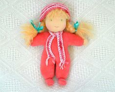 Waldorf doll coral 10inch made of natural by LaFiabaRussa on Etsy, €35.00