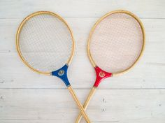 vintage wooden badminton racquets by epochco on Etsy, $50.00