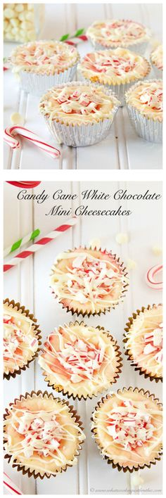 Candy Cane White Chocolate Mini Cheesecakes on www.cookingwithru... will be loved at any holiday gathering!