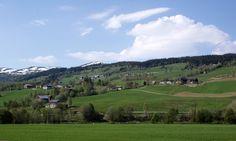 Løfallgrenda.   Øverst ligger Bekjjadalen, Heimistua og Nordgård på rekke og rad.   Midt på bildet fra venstre Slå-gardene, Haugli og Løfallia. Nederst: Trøa og Melum