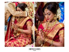 South Indian bride. Temple jewelry. Jhumkis.Traditional red and gold silk kanchipuram sarees.Braid with fresh jasmine flowers. Tamil bride. Telugu bride. Kannada bride. Hindu bride. Malayalee bride.Kerala bride.South Indian wedding.