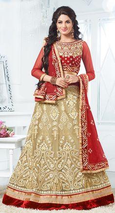 Beige color Wedding #Lehnga #Choli-Net Lehenga Choli
