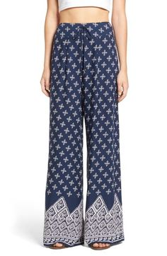 Band of Gypsies Border Print Wide Leg Pants available at #Nordstrom
