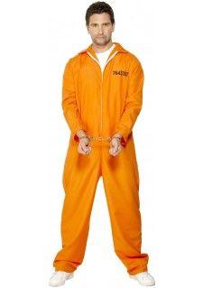 Een oranje gevangene overall met gevangene nummer en witte rits. Dit is de in Amerika meest voorkomende gevangeniskleding. Op de achterzijde staat in dezelfde print als het nummer de tekst: EASY JAIL. Multifunctioneel voor een Nederlands oranje feestje en politie / most wanted themafeestjes. Set bestaat uit: Oranje Gevangenis Pak