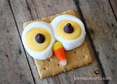 Adorable Owl Treats for Fall: Graham crackers, marshmallows, yellow candy melts, chocolate chips, and candy corn. (Melt marshmallows, & candy melts on graham cracker for +-5 seconds, then construct the rest.)