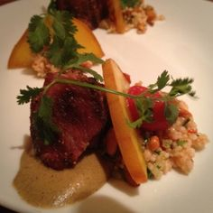 Pork Belly, Curried Eggplant, Cous Cous, Pickled Peach @ Barley Swine