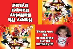 Power Rangers Party Favors Candy Bag Labels