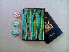 Matrix passport case hand embroidered Stylish document by UEonEtsy