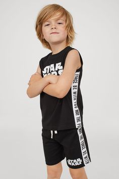 Tank Top and Shorts - Star Wars Shoes - Ideas of Star Wars Shoes - Tank Top and Shorts Black/Star Wars Kids Boys Long Hairstyles Kids, Boy Haircuts Long, Boy Hairstyles, Trendy Haircuts, Hairstyle Men, Formal Hairstyles, Baby Boy Outfits, Kids Outfits, Boys Style