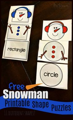 FREE Snowman Printable Shape Puzzles - this fun winter theme shape activity is p. FREE Snowman Printable Shape Puzzles – this fun winter theme shape activity is perfect for presch Math Activities For Kids, Puzzles For Kids, Preschool Activities, Winter Activities, Shape Activities, Preschool Speech Therapy, Free Preschool, Printable Math Games, Printable Shapes