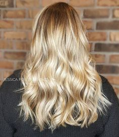 Blonde balayage high lights long hair layers rooted color melt