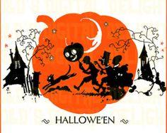 RARE VINTAGE Halloween Digital Download. Kids Trick Or Treating.