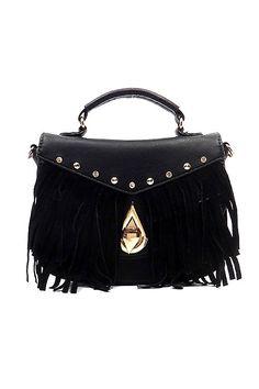 Boho Fringe Flap Vegan Leather Crossbody Bag - Black