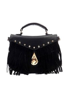 Boho Fringe Flap Vegan Leather Crossbody Bag - Black