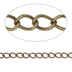 Chain, antiqued brass-finished steel, 5x3mm twisted lightweight cable link. Sold per pkg of 5 meters.