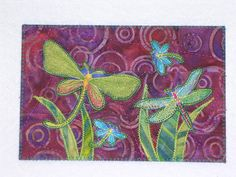 Dragonflies Quilted Fabric Postcard Dragonfly purples greens blues