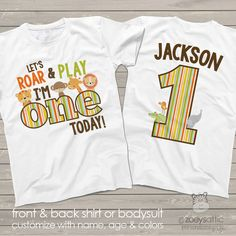zoo / jungle theme First 1st birthday shirt let's roar