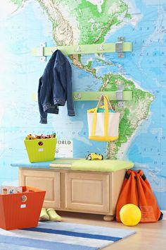 Volta ao mundo na decoração com mapas. Blog Achados de Decoração #decoraçãoinfantil #decoraçãocriativa