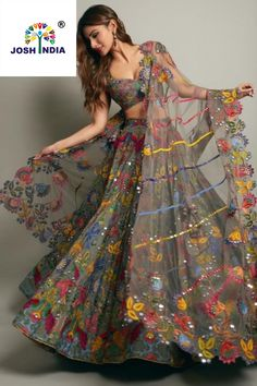 Simple Designer Grey color printed lehenga choli for bridal look.For order WhatsApp on draping styles dress for bride indian dresses indian teens wedding outfits sisters blouse designs indian with dress blouse designs dresses indian designs indian bridal Indian Gowns Dresses, Indian Fashion Dresses, Indian Designer Outfits, Fashion Suits, African Fashion, Designer Dresses, Style Fashion, Salwar Designs, Choli Designs