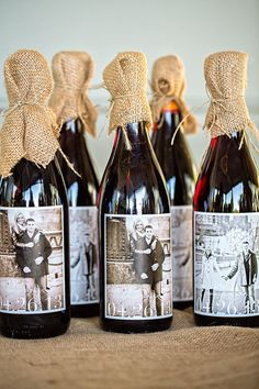 Rustic wedding favor idea - burlap + personalized wine bottles for guests {Fia Forever Photography} Wedding Labels, Wedding Favours, Wedding Gifts, Party Favors, Rustic Wedding, Our Wedding, Luxury Wedding, Wedding Ceremony, Wedding Venues
