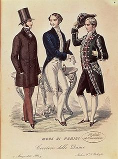 Fashion, France, 19th century. Fashion plate depicting men's ceremonial dresses. From Mode di Parigi, Corriere delle Dame, March 1, 1853.