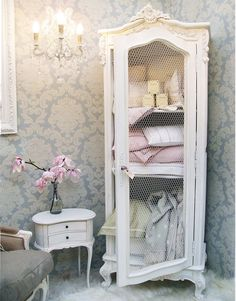 I love th armoire, but I think the setup would be perfect for a bathroom.