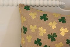 Shamrock Burlap Pillow Cover St Patricks Day Pillow by Inspireren