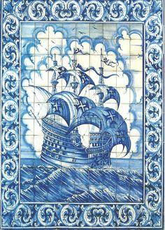 Nau Portuguesa, Azulejos, Portugal. Sent to Czech Republic.