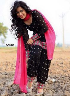 Patiala Black Printed With pink Panjabi Dress http://www.angelnx.com/