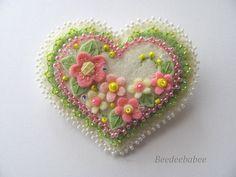 Felt Heart Pin / Heart Pin / Heart Brooch ♡ by Beedeebabee on Etsy